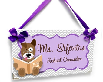 personalized school counselor name door sign - purple with grey chevron dog reading book school decor - P2240