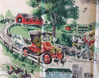 """A Drive in the Country 1950's Novelty Print Cotton Chintz Fabric - Kandell Design 2 yds 36"""" wide"""