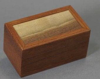 Small Jatoba wood box with a Walnut top. Landscape grain. Keepsake Gift Jewelry box 4 9/16 X 2 1/2 X 2 3/8
