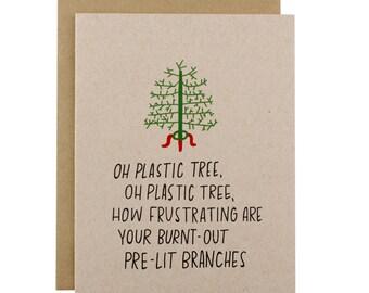 Funny Christmas Cards - Christmas Tree Card - Funny Christmas Card Pack - Oh Plastic Tree Oh Plastic Tree