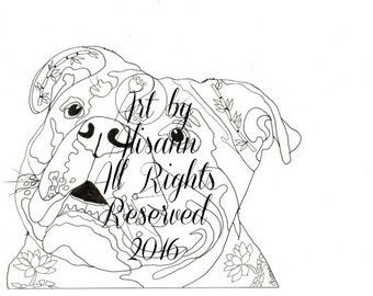 English Bulldog- Instant Download - Coloring Books for Adults - Love Dogs Feed the Soul Vol.4