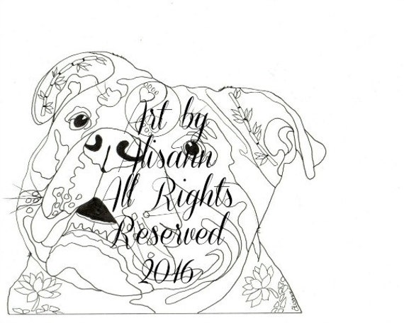English Bulldog Instant Download Coloring Books for Adults