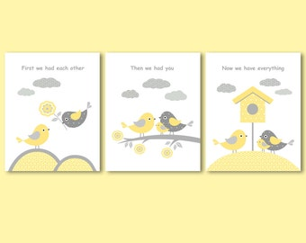First we had each other, then we had you, now we have everything - set of 3 prints / posters, collages for nursery with quote, birds family