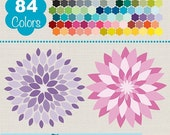 70% SALE Dahlia Clip Art, Rainbow Dahlia Clipart, Colorful Flower Vector Graphics, Huge Clipart Pack - Instant Download