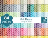 70% Sale Knit Digital Papers - Rainbow Knitted Scrapbook Papers - Huge Paper Pack - INSTANT Download