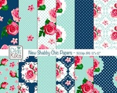 70% Sale New Shabby Chic Digital Papers, Navy Shabby Chic Scrapbook Papers - card design, invitations, background - INSTANT DOWNLOAD