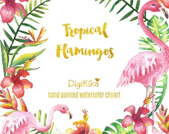 Flamingos Clipart, Hand Painted Watercolor - Tropical Clipart, Floral Pack, Summer Wedding Invitation, Hibiscos Graphics, Aloha Clip Art
