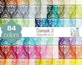 SALE Damask Digital Papers 2 - Rainbow Damask Papers - Damask Scrapbook Papers - Huge Paper Pack- INSTANT Download