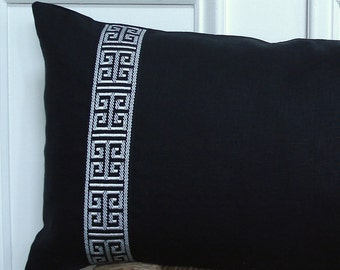 Greek key trim pillow,greek key trim,greek key pillow,black and white pillow cover,black linen pillow,lumbar pillow cover 12 x 22