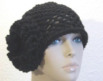Crochet Cloche Hat In Black 1920s Hat Crochet Hat