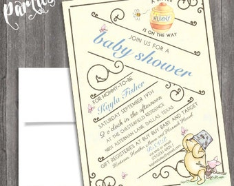 Vintage classic Winnie the pooh Baby Shower or  Vintage Nursery Book invite diy print file OR  Printed is available