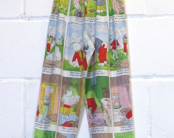 Kids Upcycled Vintage Rupert The Bear Trousers