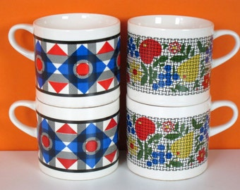 Melitta demitasse cups, multi color prints, geometrical and fruit, mid century coffee cups, set of 4, made in Germany