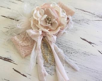 Baby Girl Headband- Baby Headband-Dollcake Headband- Flower Girl Headband- Avry Couture- Couture Headband- blush Headband- Girls Headband