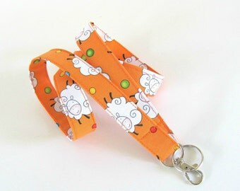 Lanyard Key Holder Sheep Keychain ID Badge Lanyard Orange Fabric Lanyard, White Lambs