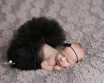 BLACK TUTU SET, Baby Tutu, Black Tutu, Black Baby Tutu, Newborn Photo Prop, Newborn Photography, Black skirt, Newborn Tutu, Black Tutu Set