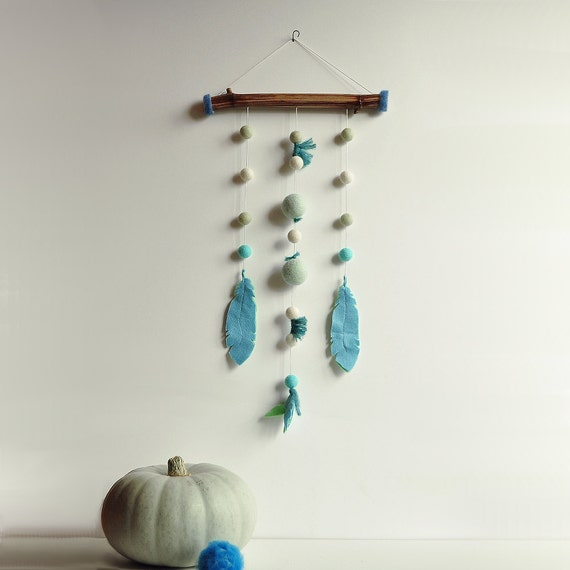 Tribal wall hanging - Nomad gift Dreamer Ethnic Felt mobile - Mint azure feather