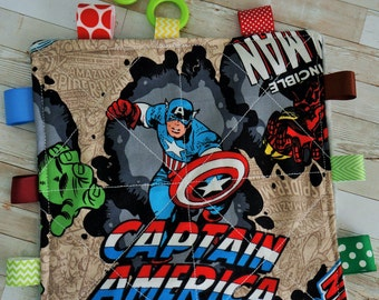 Baby boy toys, crinkle toy, toy mat,  Marvel super hero print, 7 inch teething toy.  Cotton and plush, Babies love this. 3 months and up.