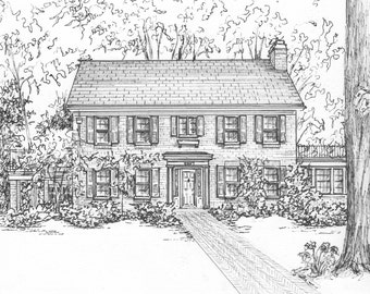 Hand-drawn House Portrait  Your Home or Business in Ink, Family history artwork Architectural Rendering of buildings