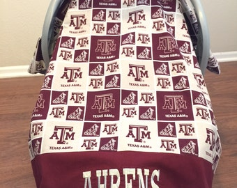 Personalized Infant Car Seat Cover, Baby Canopy, Texas A&M, Aggie Infant Car Seat, Carrier Cover, Baby Tent Cover, Baby Shower Gift