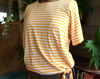 Vintage yellow striped side tie tee size medium large