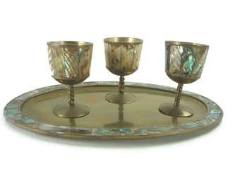 Vintage Abalone and Brass Cordial Set