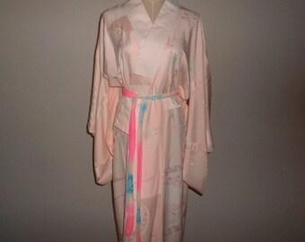 Vintag nagajyuban - Peacock feather, Sakura pink, Shibori tie