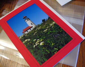 Lighthouse Masculine Oregon Pacific Northwest, Red & White, All Occasion, FATHER'S DAY Card, Blank Greeting Card, Eco-Friendly Photo Card