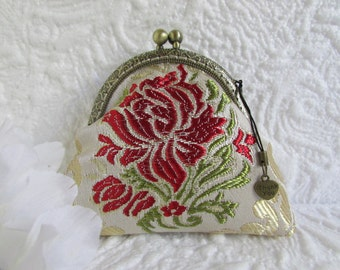 15A - Coin purse - Fabric with Metal Frame, handmade, wallet
