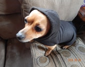 Fleece Pet Wrap BLACK Tw Xs Sm SmDoxie M/L Xl Hood Leash hole Velcro Quick on off outside Chinese Crested Dachshund Pug Handmade USA Gift