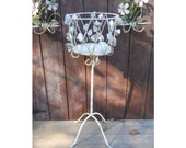 Vintage 1950s Rustic Metal Roses Ornate Wrought Iron Tole Wire Garden Porch Planter Stand Southern French Country Victorian Arts & Crafts
