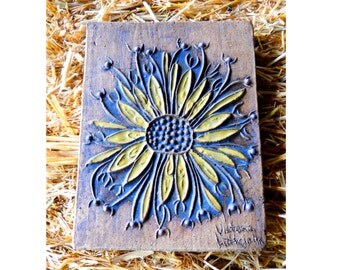 Rare Victoria Littlejohn Garden Sunflower Architectural Vintage Porch Mid Century Stoneware Studio Pottery Tile Plaque Arts Crafts Farmhouse