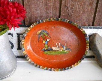 Mexican Rabbit Cactus Tlaquepaque Tonala Scenic Terracotta Folk Art Vintage 1930s RedWare Pottery Oval Dish Ceramics Serving Platter Bowl