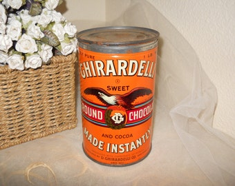 Vintage Ghirardelli Ground Sweet Chocolate Tin Can Industrial Orange Eagle Advertising Lithograph Antique Rustic Primitive Cocoa Storage Box