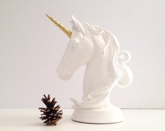 Unicorn Table top animal statue in white and gold // nursery // kids room // fantasy // office decor // home decor // unique