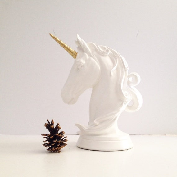 Unicorn Table Top Animal Statue In White And Gold Nursery Kids Room