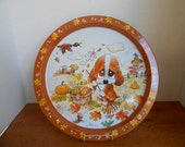 Vintage Tray / Fall Decor /Leaves/Scarecrow / by Giordano / 1980s Vintage / Giftco