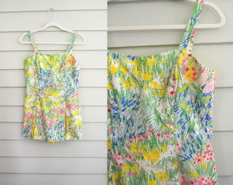 vintage 1950s or 1960s swim suit / floral bathing suit / Medium to Large vintage romper / Gabar play suit with flowers / swimwear