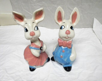 """Pair of Retro Vintage Ceramic Rabbits Boy and Girl Decor Bunny 9x4"""" Bunnies Nursery Cottage Chic Easter Kitsch Blue Pink Statue Figurine"""