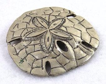 Antique Silver Tone Sand Dollar Brooch