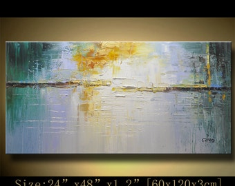 Abstract Wall Painting, expressionism Textured Painting,Impasto Landscape Painting  ,Palette Knife Painting on Canvas by Chen hh50