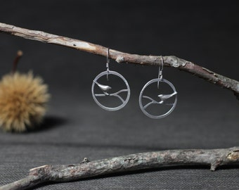 Bird Branch Circle Earrings