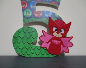 "PJ MASKS - NUMBERS, numerals - 18.00 per number, 8-1/2"", perfect birthday party decorations and monthly or yearly birthday pictures, Gecko"