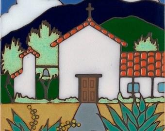 Ceramic tile, Soledad Mission, hot plate, wall decor, installation, backsplash, kitchen tile, hand painted, hand crafted, art tile