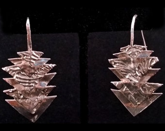 Silver Origami Textured Points Earrings