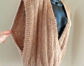 Oversized sweater vest, vintage women's Christian Dior beige knit wool blend sweater vest, deep v-neck, 80s