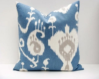 Decorative pillows - Throw Pillow Covers - Ikat Pillow - Throw Pillows - Pillows - Blue Pillow - Blue pillow covers - Accent pillow