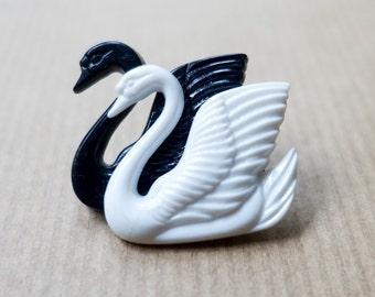 Swan Brooch Swan Pin Black White Brooch Plastic Brooch Vintage Double Swan Brooch