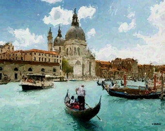 "VENICE ITALY GONDOLAS Cityscape Skyline 16x20"" with mat frame. Painting on giclee canvas. Impressionism."