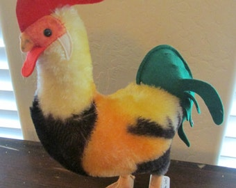 Steiff Rooster with button.  1950s. Mohair with felt tail.